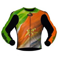 Abstract Race Leather Riding Jacket Design Front View