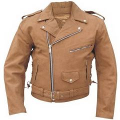 Brown Leather Moto Jacket Front View