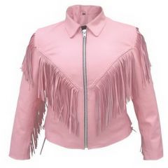 Ladies Pink Jacket with Fringe Front View