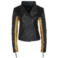 Ladies Sovereign Leather Jacket Black and Gold Front View
