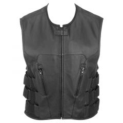 Leather Riding Vest with Velcro Side Straps Front View