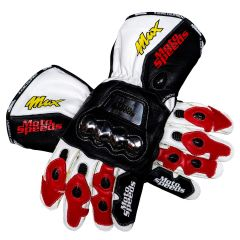 Max Biaggi GP 1995 Racing Leather Gloves upper view