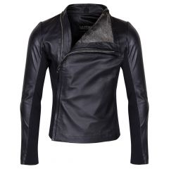 Mens Slim Fitted Leather Jacket Front View