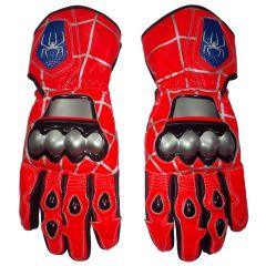 Spiderman Leather Motorcycle Racing Gloves Upper View