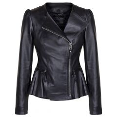 The Empress Fashion Icon Fitted Leather Jacket For Ladies Front View