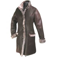 Womens Long Leather Coat With Fur Lining Front View